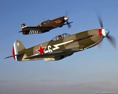 Yakovlev Yak-3 and P-51 Mustang - north, war, soviet, fighter, ww2, yak3, mustang, usaf, russia, yakovlev, p51, america, russian