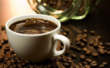 Coffee - photography, coffee, cup of coffee, beans, cup
