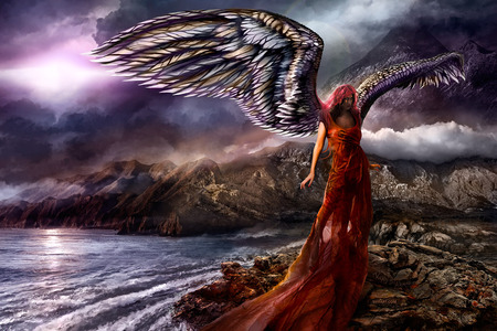 Isis - cloudscape, hd, divine, sunset, digital art, seasons, sea, fantasy, destiny, beauty, wings, isis, angel, sexy, spirit, croatia, charming, 3d, cool, girl, mountains, dark