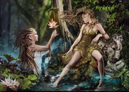 The Water and the Wood Elf - fae, emilie noordeloos, water elf, wood elf, elf, holland, fairy, netherland