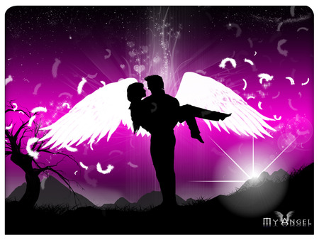 My Angel - valentines, my angel, angels, valentines day, angel, silhouette, valentine, i love you, love