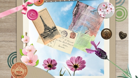 Sending Photos - flowers, paper, wood, button, ribbon, post cards, photo, milk bottle lid