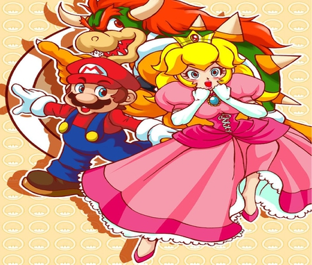 Super Princess Peach Team! - super princess peach, bowser, mario, peachie peach, peachie, video games, peach