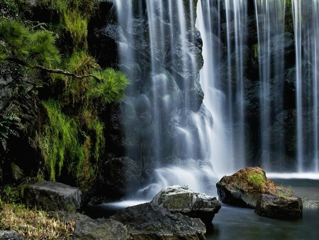 fascinate-cascade - view, clear, clean, scencery, beautiful, rockes, mountain, tree, waterfall, nature, cascade