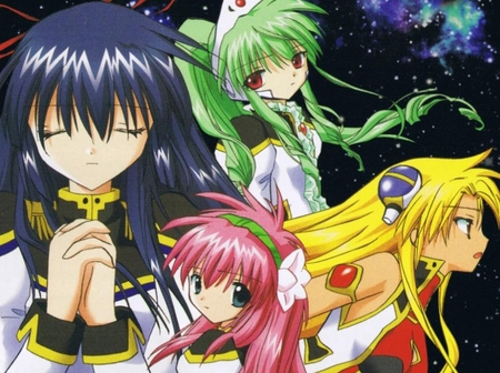 The four angels - galaxy angel, angel, ranpha, game, chitose, yellow, galaxy, ps2, green, milfulle, vanilla, pink, blue