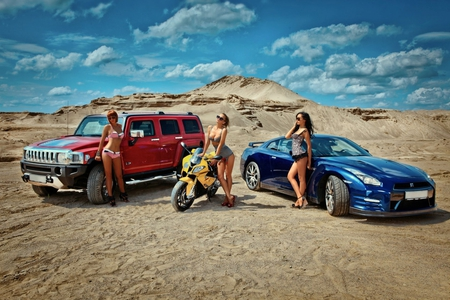 Fast Cars, Fast Bikes, and Fast... - blond, bikini, face, nissan, eyes, sexy, brown, woman, legs, hair, lady, brunette, heels, motorcycle, hummer, hot, babe, lips, blonde, gtr, beautiful, girl