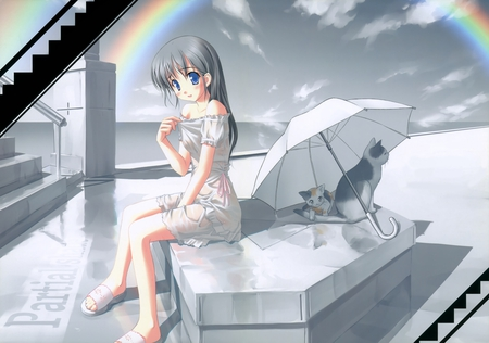 There you are - artist, wet, kogemashita, umbrella, rainbow, cat, sexy, kawai, animal, cute, scan, takoyaki, girl, anime