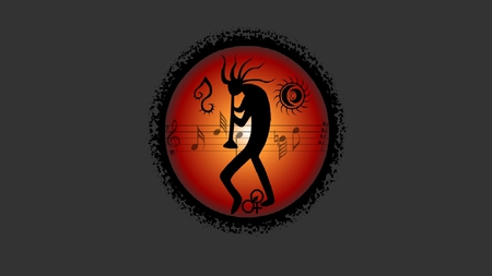 Kokopelli - orange, black, gray, flute, kokopelli