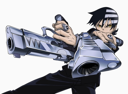 Death the Kid - male, yellow eyes, sexy, cool, gun, anime, soul eater, death the kid, weapon, white, black hair