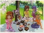 shuffle girls picknicking