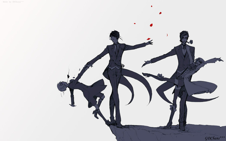 Dancing on the Edge of Madness - madness, sebastian, edge, dancing, anime, alois, cliff, trancy, insanity, claude, faustus, phantomhive, michealis, kuroshitsuji, crazy, dance, ciel
