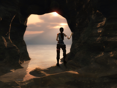 Lara Croft - tomb raider, video game, water, grotto, sea, lara croft