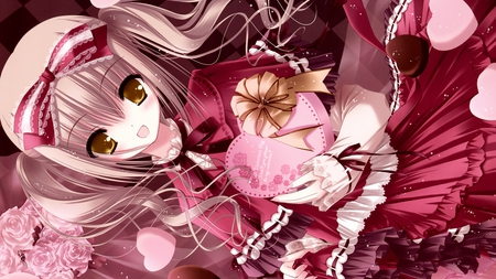 Valentine - valentine, pink, heart, ribbon, girl, cute, anime
