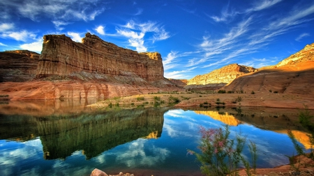 Beautiful Reflection - tree, nature, beautiful, rockes, reflection, clouds, tall, sky