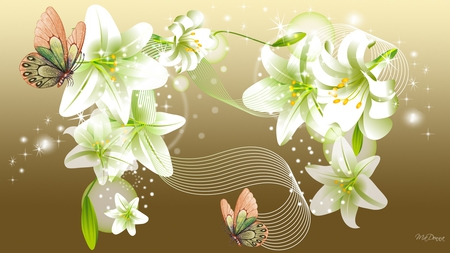 Lilies and Butterflies on Gold