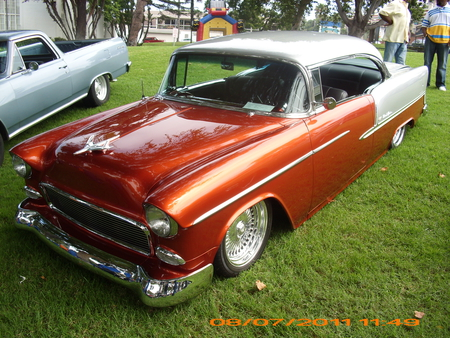 55 CHEVY - car, streetrodder, rodder, hot, kool, hotrod, custom, chevy, hotrods, street, hot rod, show, 55, outside, chevrolet, classic, cars, rods, rod, auto, autos