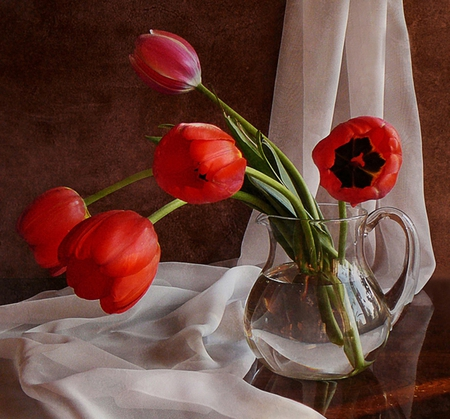 Tulips - good morning, sunny day, red tulips, beautiful flowers, vase, curtain, beautiful day, still life, beauty, tulips