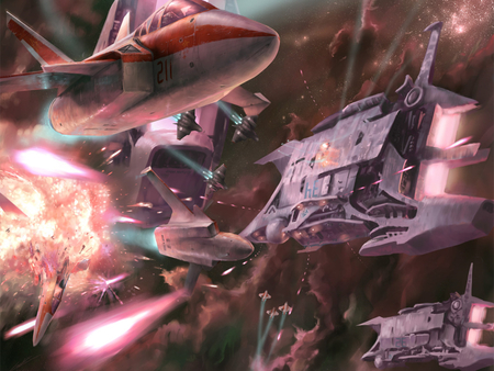 the battle - explosions, cruisers, fighters, space