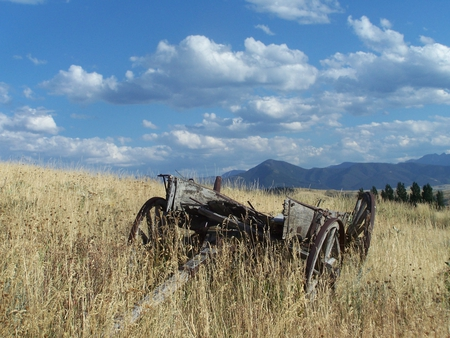 Left Behind - big sky, wagon, blue sky, clouds, grass mountains
