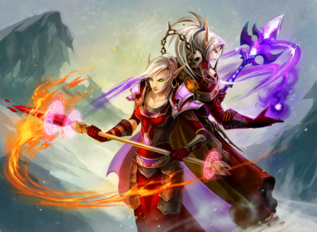 World of Warcraft - scepters, white hair, green eyes, video game, game, video games, elves, duo, long hair, pointy ears, elf, world of warcraft, warcraft, blonde hair, weapons, armor, fire, flames, mountains, blood elf, armour
