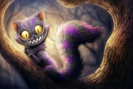 Cheshire - teeth, tooth, hd, cat, face, eye, funny, 3d, eyes, animal, cheshire, digital art