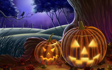 Halloween - autumn, hills, halloween, pumpkins, trees, pumpkin, Fall, house, night, owl, fence, leaves