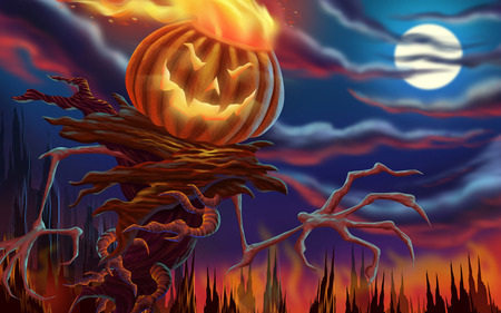Halloween - Autumn, flames, fire, halloween, scary, hollowen, frightning, fantasy, october, pumpkin, spooky, Fall, moon, night
