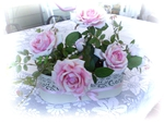 Pale roses centerpiece