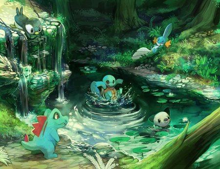 the water starters - totodile, pokemon, water, piplup