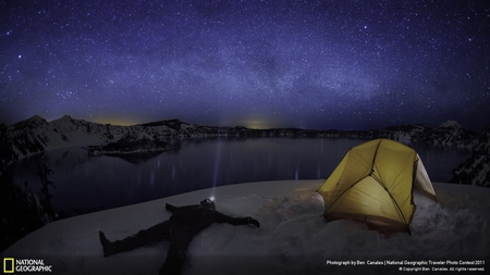 Star Gazing at Crater Lake - stars, tent, sky, lake, outdoors, star gazing, skies, purple, nature, blue