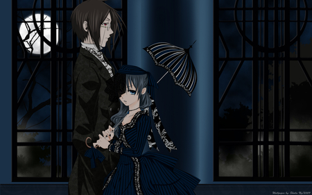 Perfect Disguise - female, phantomhive, sebastian, full, butler, kuroshitsuji, boy, demon, moon, tutor, disguise, anime, ciel