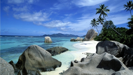 LaDigue Island - sand, beach, island, sky
