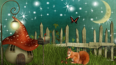 Wonderland Valley - fence, lamp, squirrel, house, night sky, lit, crescent moon, firefox persona, toadstool, fantasy, butterfly, whimsical, light