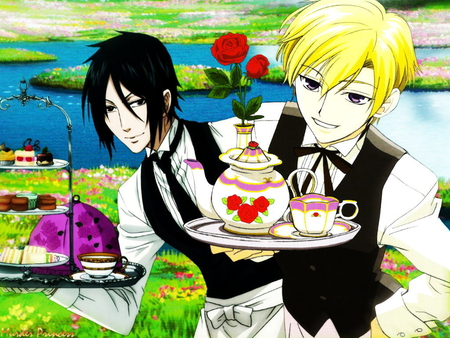 I Prefer the Raven - raven, sebastian, tea, ouran high school host club, kuroshitsuji, demon, ohshc, tamaki, suoh, anime, flower