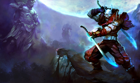 Shen Bloodmoon - bloodmoon, blades, lol, sky, league of legends, blood, assasin, moon, warrior, shen, mask, sword, night, ninja