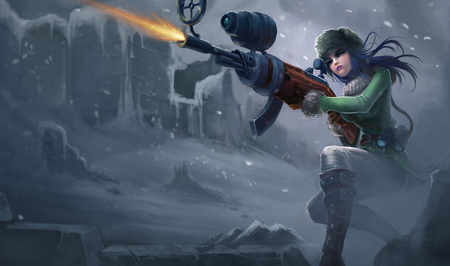 Caitlyn Arctic Warfare - shot, lol, sheriff, league of legends, cold, hair, gun, caitlyn, blue, piltover, arctic, warfare, headshot, cyper, punk, winter, fire, snow, ice, sniper, cyberpunk
