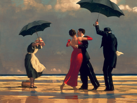 Vettriano - umbrella, formal, dancing, windy