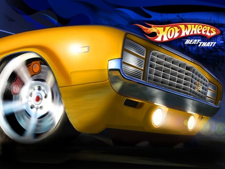 Hot Wheels - yellow, art, beat that, car