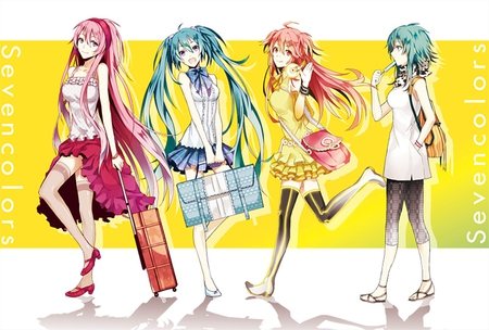 Seven Colors - pretty, cg, green eyes, yellow, megurine, nice, kanon, anime, aqua, beauty, anime girl, vocaloids, art, twintail, skirt, gumi, black, airport, miku, singer, sexy, aqua eyes, cute, hatsune, cool, digital, awesome, kanon nanase, green hair, white, idol, red eyes, long socks, artistic, hatsune miku, luka, bag, tie, beautiful, megurine luka, thighhighs, program, green, hot, pink, blue, vocaloid, outfit, luggage, music, seven colors, diva, nanase, leggings, song, girl, stockings, uniform, virtual, aqua hair, pink hair, album
