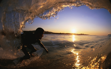 The Last Ride - surfer, ocean, ride, sunset, wave