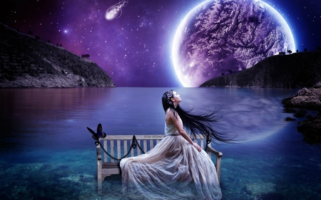 Beautiful place - colorful, butterfly, color, peaceful, water, animal, beautiful, lovely, dream, girl, night, place