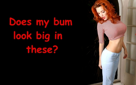 Well Seeing You Asked....... - stripes, redhead, blue, jeans