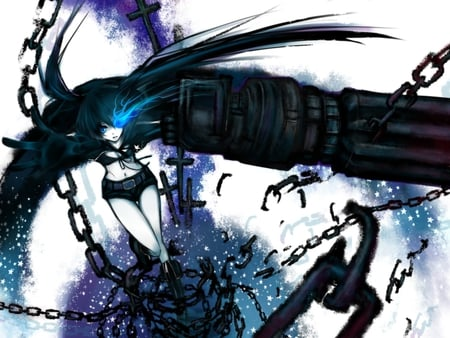 Black★Rock Shooter - pretty, cg, bra, nice, gun, anime, hand, aqua, beauty, anime girl, broken chain, brs, art, twintail, black, swirls, chains, cannon, aqua eyes, weapons, cool, purple, jacket, digital, awesome, bikini top, white, artistic, beautiful, thighhighs, blade, black rock shooter, shorts, blue eyes, black hair, arm, portal, girl, katana
