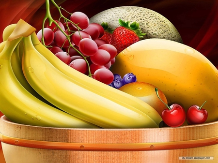 Bountiful Fruit Salad - fruit, grapes, bananas, strawberries, blueberries, salad, bowl