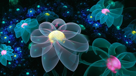 neon flowers fantasy abstract background wallpapers on desktop