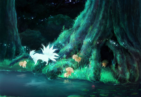 Legend of Ninetales - kitsune, music, anime, tree, fox, forest, pokemon, river, night, ninetales, fireflies, family