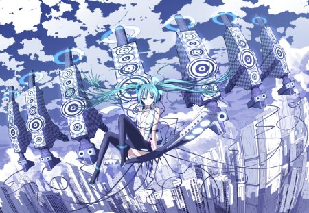 Miku Append - pretty, bass, clouds, nice, anime, aqua, beauty, reflection, vocaloids, twintail, buildings, black, miku, miku append, sky, aqua eyes, cute, hatsune, cool, awesome, white, hatsune miku, beautiful, thighhighs, city, blue, vocaloid, outfit, wares, shadow, floating, skyscrapers, leggings, uniform, lines, aqua hair, append