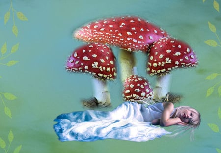 Under The Toadstools - mist, lady, toadstool, blue, green, red, mushroom