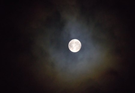 Full Moon - moon, cloudy, nature, sky