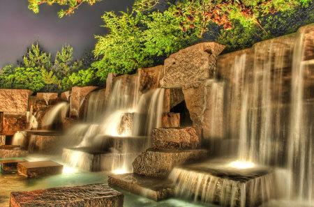 3D Waterfalls - color, fall, trees, waterfall, rocks